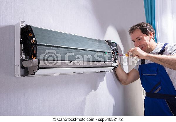 technikus, megjavítás, légkondicionáló - csp54052172