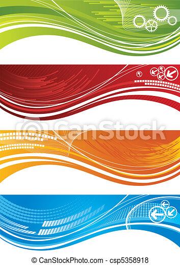 technisch, banner, satz, bunter  - csp5358918