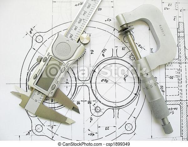 technisch, caliper, micrometer, drawing., techniek, digitale , gereedschap - csp1899349