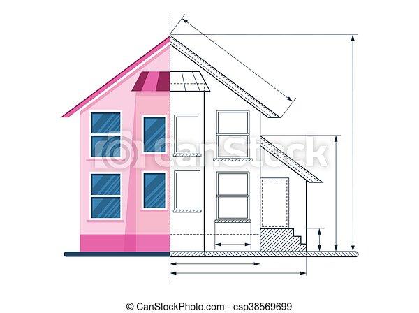 Technisch, Haus, Zeichnung, Stromkreis   Csp38569699