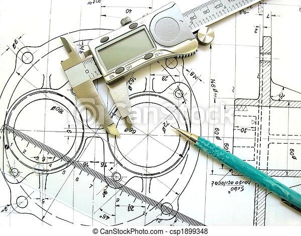 Technik-Werkzeuge. Digitaler Kaliber, Lineal und mechanischer Bleistift. - csp1899348