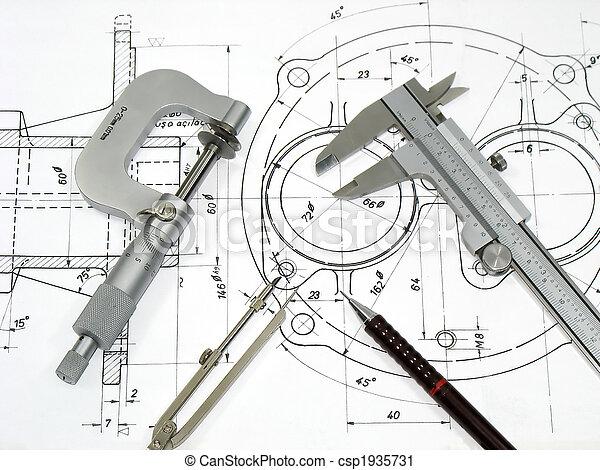 technisch, techniek, gereedschap, tekening - csp1935731