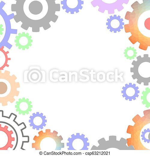 Techno Background with Geometric Gear Wheels. Modern Mechanism Industrial Concept. Technology Polygonal Gears Pattern. - csp63212021