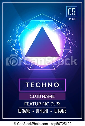 Techno Music Poster Electronic Club Deep Music Musical