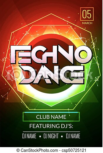 Techno music poster electronic club deep music musical vector