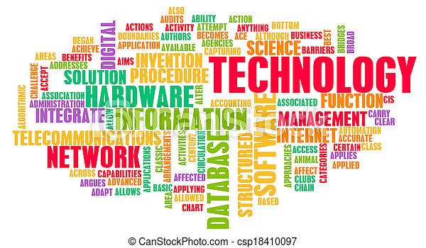 technológia, szó, felhő - csp18410097