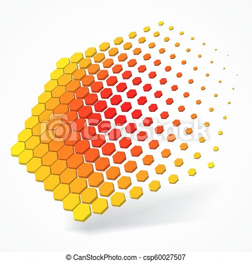 technolgy theme with hexagons. 3d style vector illustration. - csp60027507