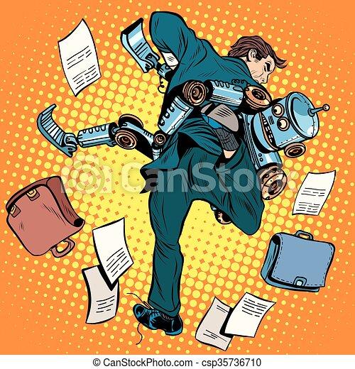 technolog, robot, vecht, kunstmatig, menselijk, intelligentie, nieuw - csp35736710