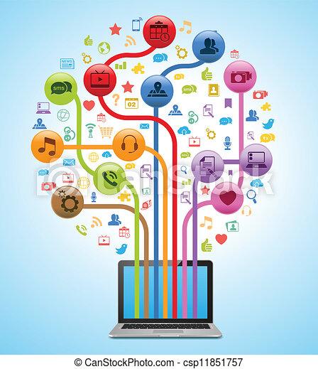 technologia, app, drzewo - csp11851757