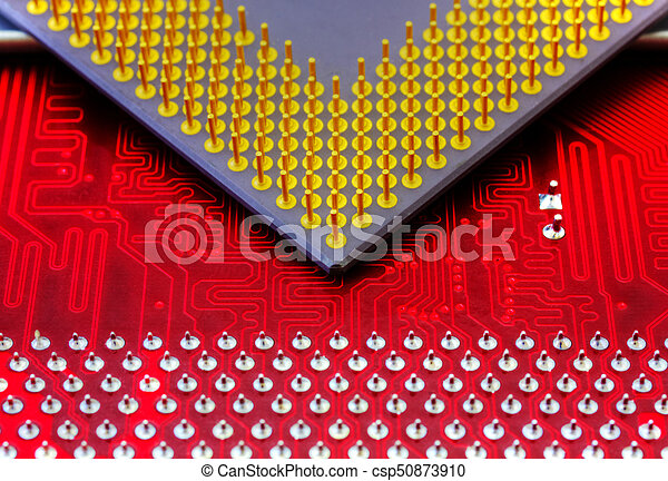 Technological background with red computer motherboard and central processing unit - csp50873910