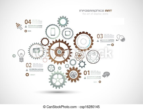 technologie de pointe, fond, business, infographics - csp16280145