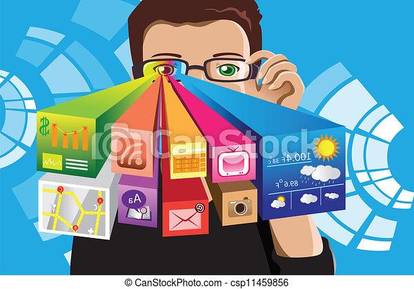 technologie, futuriste, homme - csp11459856