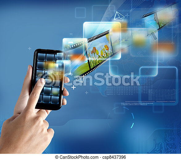 technologie, smartphone, moderne - csp8437396
