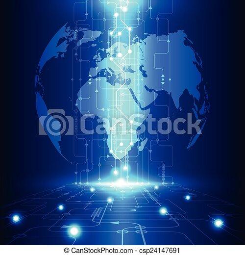 technologie, télécommunications, résumé, global, vecteur, fond, avenir, électrique - csp24147691
