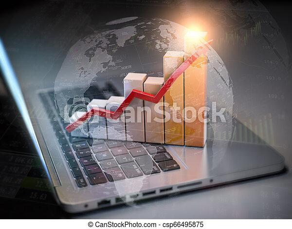technologies, business, graphique, ordinateur portable, diagramme, communications, internet, nouveau, keyboard., concept. - csp66495875