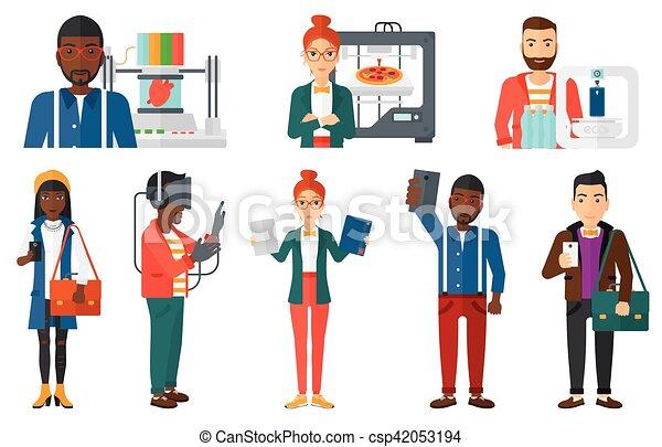 technologies., ensemble, gens, moderne, vecteur, utilisation - csp42053194