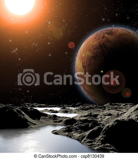 Imagen abstracta de un planeta con agua. Encontrar nuevas fuentes y tecnologías. El futuro de viajar a planetas distantes. - csp8130439