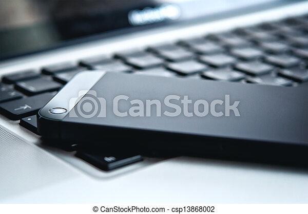 technology., ラップトップ, 電話, 黒, キーボード, 装置 - csp13868002
