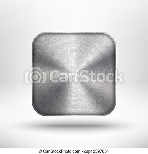 Technology app icon with metal texture for ui - csp12597651