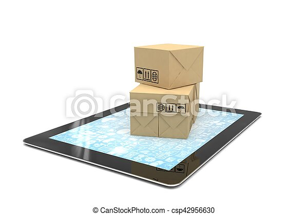 Technology business concept of shipping: cardboard package boxes on tablet. 3d rendering. - csp42956630