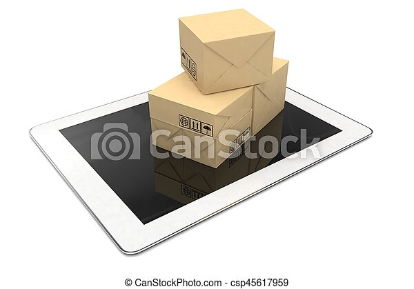 Technology business concept, shipping: cardboard package boxes on tablet. 3d rendering. - csp45617959