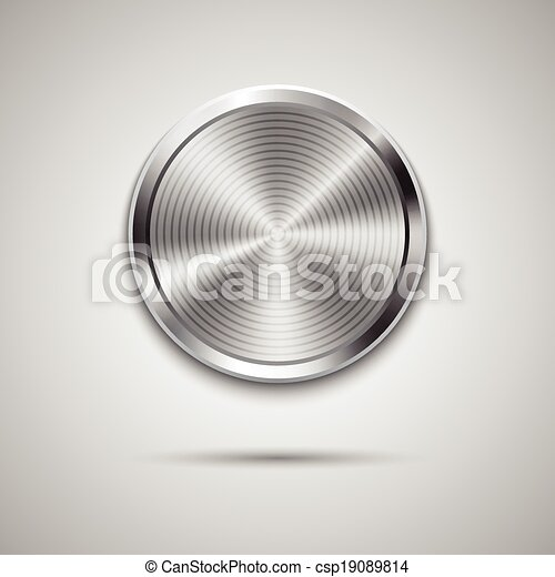 Technology circle button template with metal texture - csp19089814