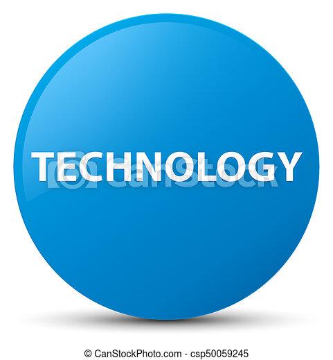 Technology cyan blue round button - csp50059245