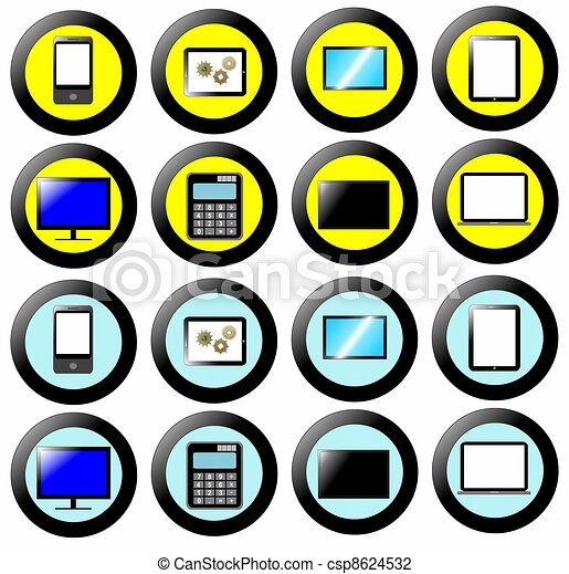 technology icon button collection signs and symbols clip art rh canstockphoto ca