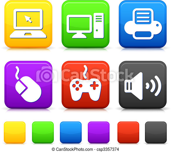 Technology Icons on Square Internet Buttons - csp3357374