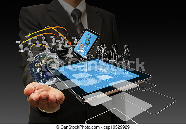 Technology in the hand of businessmen - csp10529929