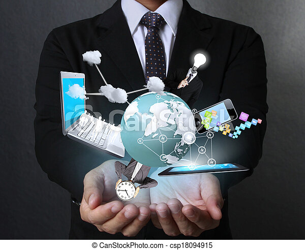 Technology in the hands - csp18094915