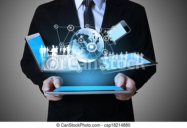 Technology in the hands - csp18214880