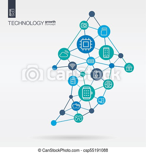 Technology Integrated Thin Line Icons Graph Chart Growth Progress