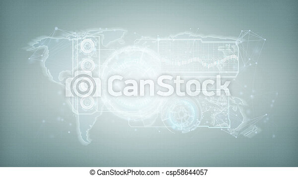 Technology interface isolated on a background 3d rendering - csp58644057