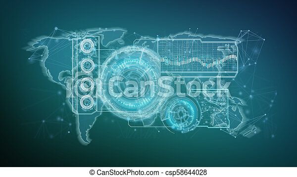 Technology interface isolated on a background 3d rendering - csp58644028