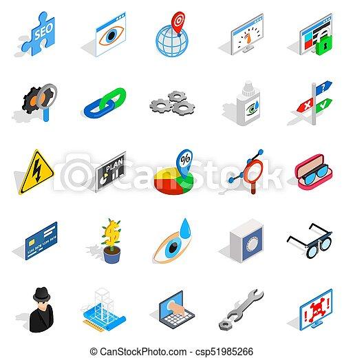 Technology of the future icons set. Isometric set of 25 technology of the future icons for web isolated on white background