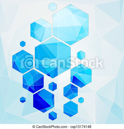 technology polygonal cell abstract background - csp13174148