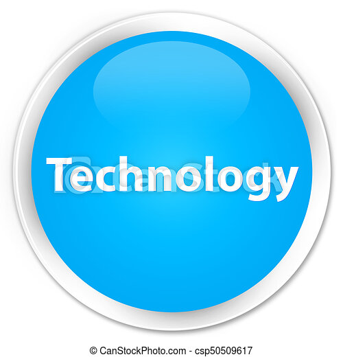 Technology premium cyan blue round button - csp50509617