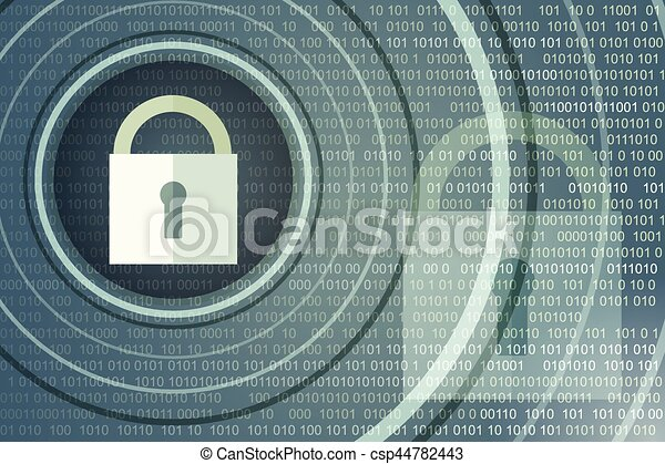 Technology safety concept. Closed Padlock on digital background - csp44782443