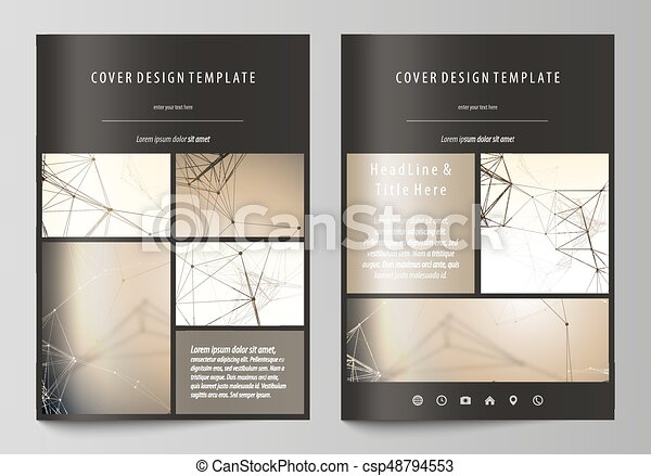 Technology, science, medical concept. Golden dots and lines, digital style. Lines plexus. Business templates for brochure, flyer, booklet, report. Cover design template, vector layout in A4 size. - csp48794553