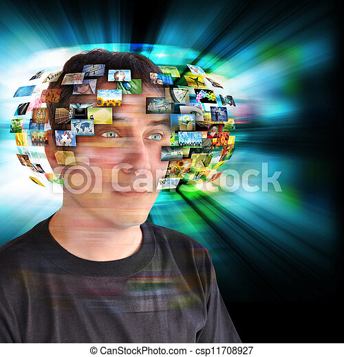 Technology Television Man with Images - csp11708927