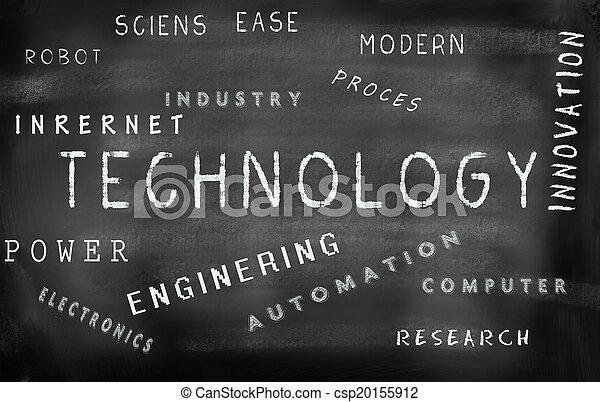 Technology word cloud written on a chalkboard - csp20155912