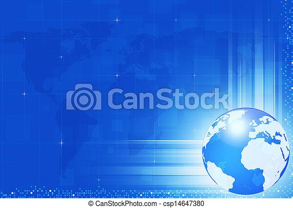 Technology World Blue Background - csp14647380