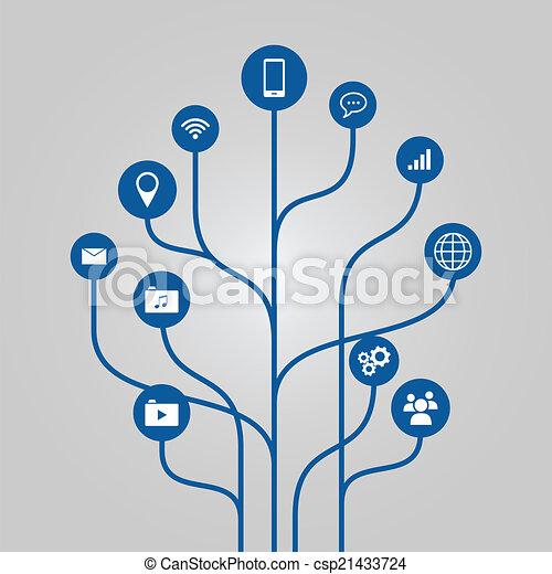 technoloy, 木, 抽象的 - csp21433724
