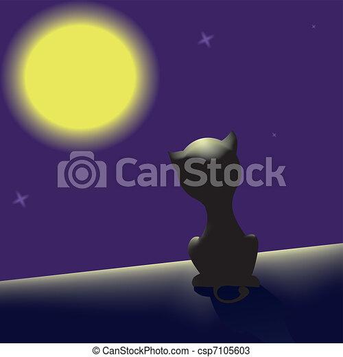 Gato negro en el techo - csp7105603