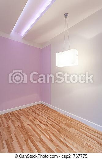 Habitación vacía con techo iluminado - csp21767775