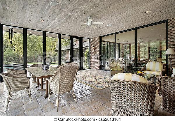 Porche con techo de madera - csp2813164