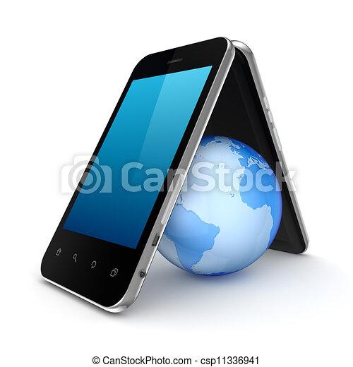 Tierra bajo el techo hecha de teléfonos móviles. - csp11336941