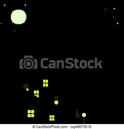 Gatos en los techos de la ciudad nocturna - csp48070516