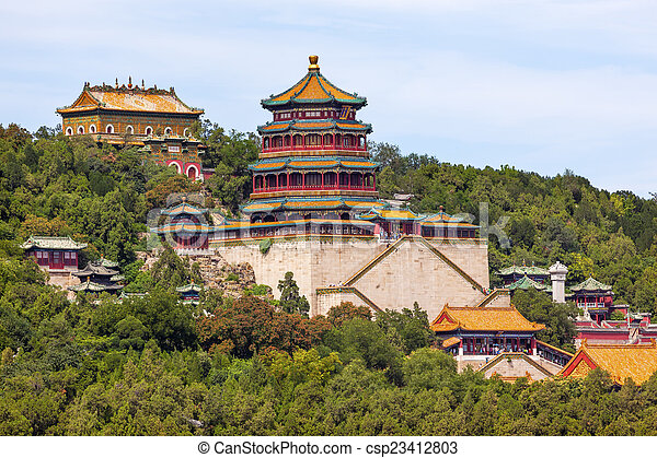 Torre de Longevity Hill de la fragancia de los tejados naranjas de Buda - csp23412803